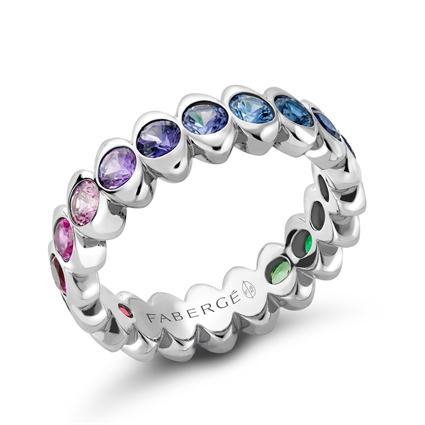 White Gold Rainbow Multicoloured Gemstone Eternity Ring | Fabergé