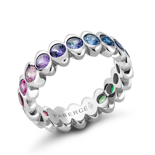 White Gold Rainbow Multicoloured Gemstone Eternity Ring | Fabergé