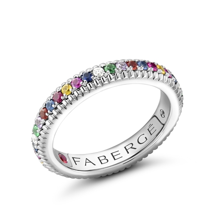 White Gold Multicoloured Gemstone Set Fluted Ring | Fabergé