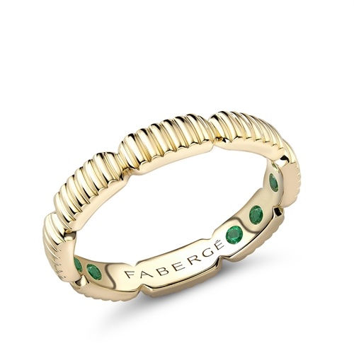 Yellow Gold Fluted Healing Ring with Hidden Emeralds | Fabergé