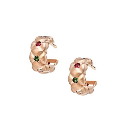 Brushed Rose Gold Gemstone Huggie Hoop Earrings   Fabergé