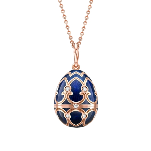 Rose Gold Dark Blue Guilloché Enamel Polar Bear Surprise Locket | Fabergé