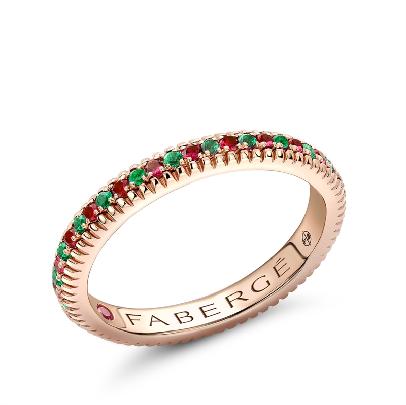 Rose Gold Emerald & Ruby Fluted Eternity Ring | Fabergé