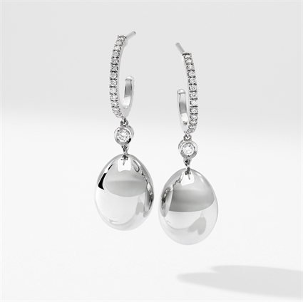 White Gold Diamond Set Egg Drop Earrings | Fabergé