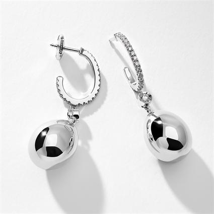 White Gold Diamond Set Egg Drop Earrings   Fabergé