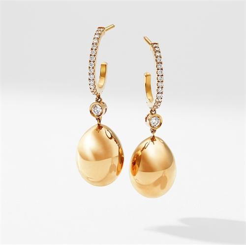 Yellow Gold Egg Hoop Drop Earrings I Fabergé