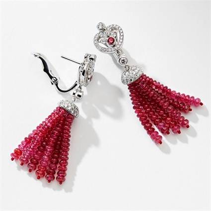 Fabergé Imperial Impératrice White Gold & Ruby Tassel Earrings I Fabergé