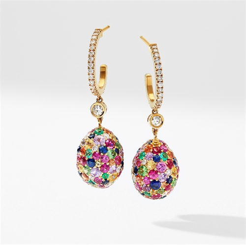 Yellow Gold Multicoloured Gemstone Egg Drop Earrings | Fabergé