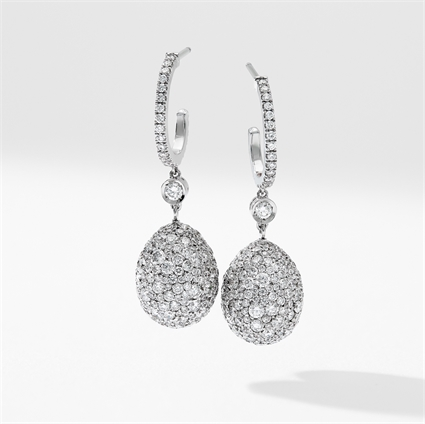 White Gold Diamond Egg Drop Earrings | Fabergé