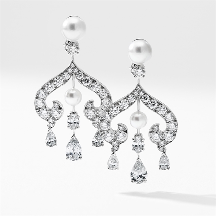 Zhivago White Gold Diamond & Pearl Chandelier Earrings I Fabergé