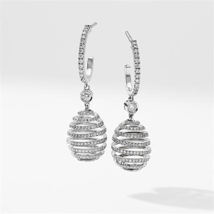 White Gold Diamond Pavé Spiral Egg Drop Earrings   Fabergé