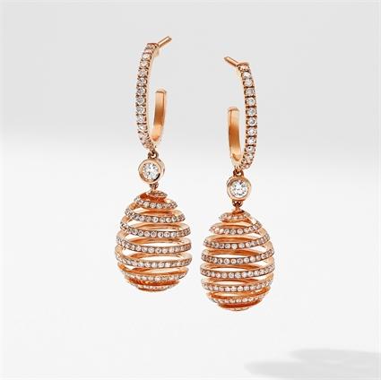 Rose Gold & White Diamond Spiral Fabergé Egg Earrings