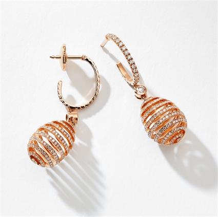 Rose Gold Diamond Pavé Spiral Egg Drop Earrings | Fabergé