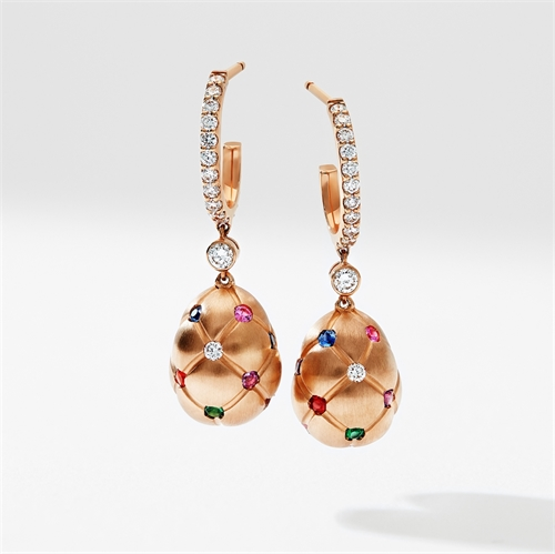 Brushed Rose Gold & Diamond Set Egg Drop Earrings | Fabergé