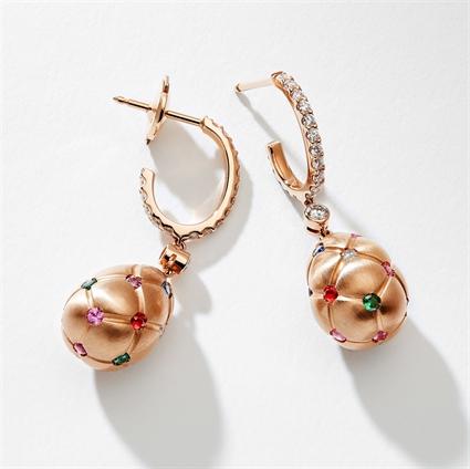 Brushed Rose Gold Diamond & Multicoloured Gemstone Egg Drop Earrings | Fabergé