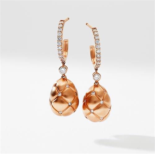 Rose Gold & Diamond Set Egg Drop Earrings | Fabergé