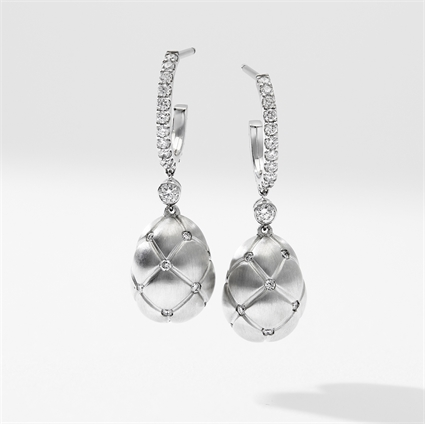 Brushed White Gold & Diamond Set Egg Drop Earrings | Fabergé