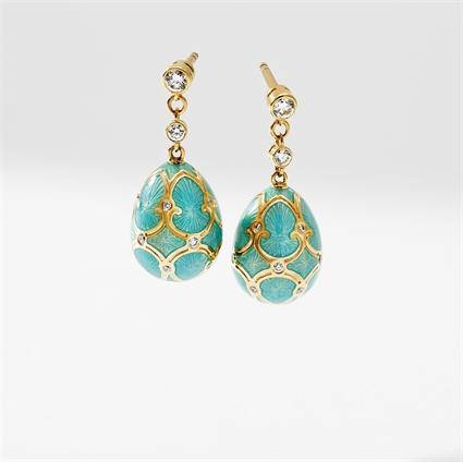 Yellow Gold Diamond & Turquoise Guilloché Enamel Egg Drop Earrings | Fabergé