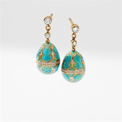 Yellow Gold Turquoise Guilloché Enamel Egg Drop Earrings   Fabergé