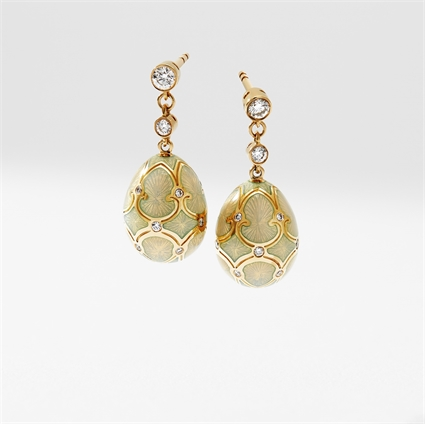 Yellow Gold Diamond & Opalescent Guilloché Enamel Egg Drop Earrings   Fabergé