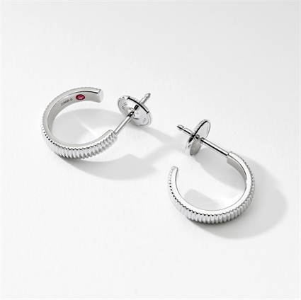 White Gold Fluted Hoop Earrings | Fabergé