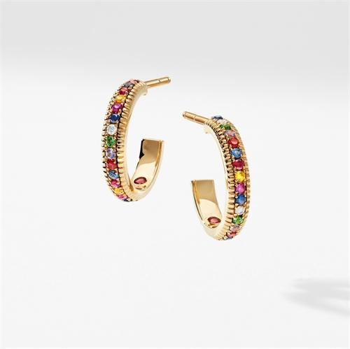 Geriffelte Creolen aus Gelbgold mit mehrfarbigen Edelsteinen | Fabergé