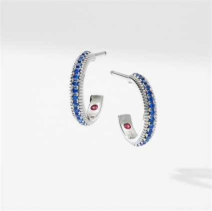 White Gold & Blue Sapphire Fluted Hoop Earrings | Fabergé