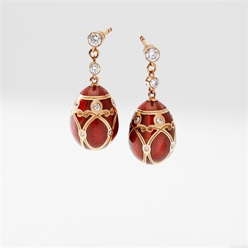 Rose Gold Diamond & Red Guilloché Enamel Egg Drop Earrings | Fabergé