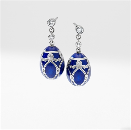 White Gold Diamond & Royal Blue Guilloché Enamel Egg Drop Earrings | Fabergé