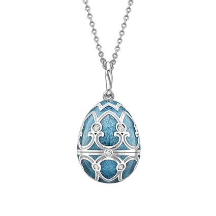 White Gold Diamond & Teal Guilloché Enamel Snowflake Surprise Locket | Fabergé