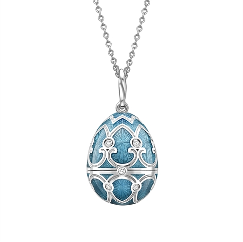 White Gold Diamond & Teal Guilloché Enamel Snowflake Surprise Locket | Fabergé