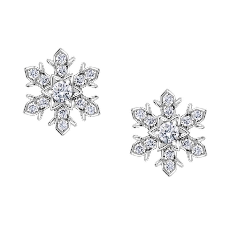 White Gold Diamond Snowflake Stud Earrings | Fabergé