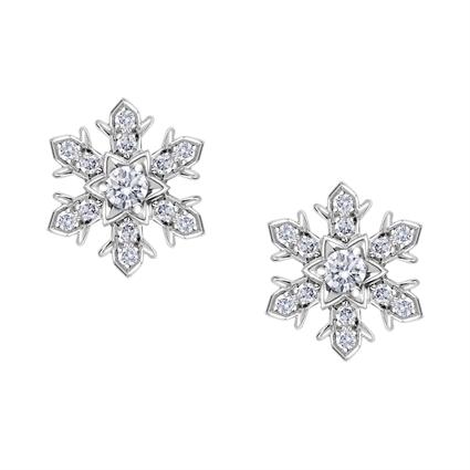White Gold Diamond Snowflake Stud Earrings | Fabergé