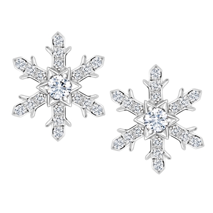 White Gold Diamond Snowflake Large Stud Earrings | Fabergé