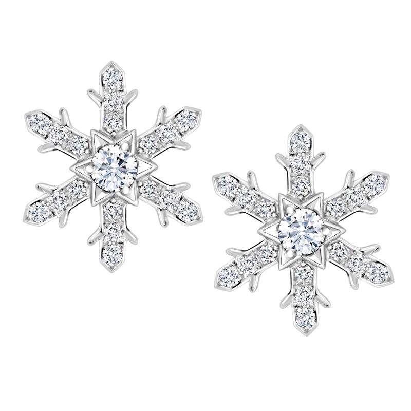 White Gold Diamond Snowflake Large Stud Earrings | Fabergé