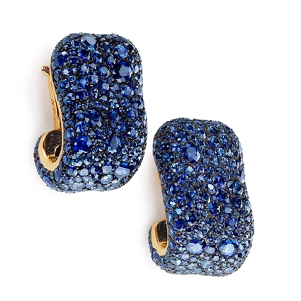 Yellow Gold & Silver Blue Sapphire Clip On Earrings | Fabergé