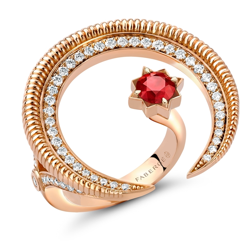Crescent Rose Gold Ruby & Diamond Ring | Fabergé
