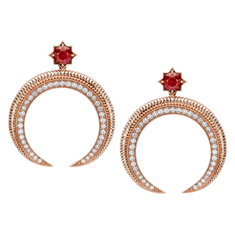 Crescent Rose Gold Ruby & Diamond Earrings | Fabergé