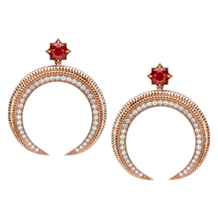Crescent Rose Gold Ruby & Diamond Earrings | Fabergé