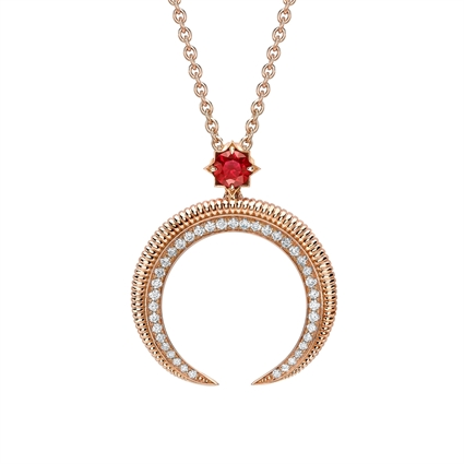 Crescent Rose Gold Ruby & Diamond Pendant   Fabergé