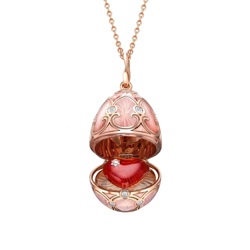 Rose Gold Diamond & Pink Guilloché Enamel Heart Surprise Locket | Fabergé