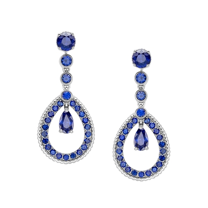 White Gold Blue Sapphire Teardrop Earrings   Fabergé
