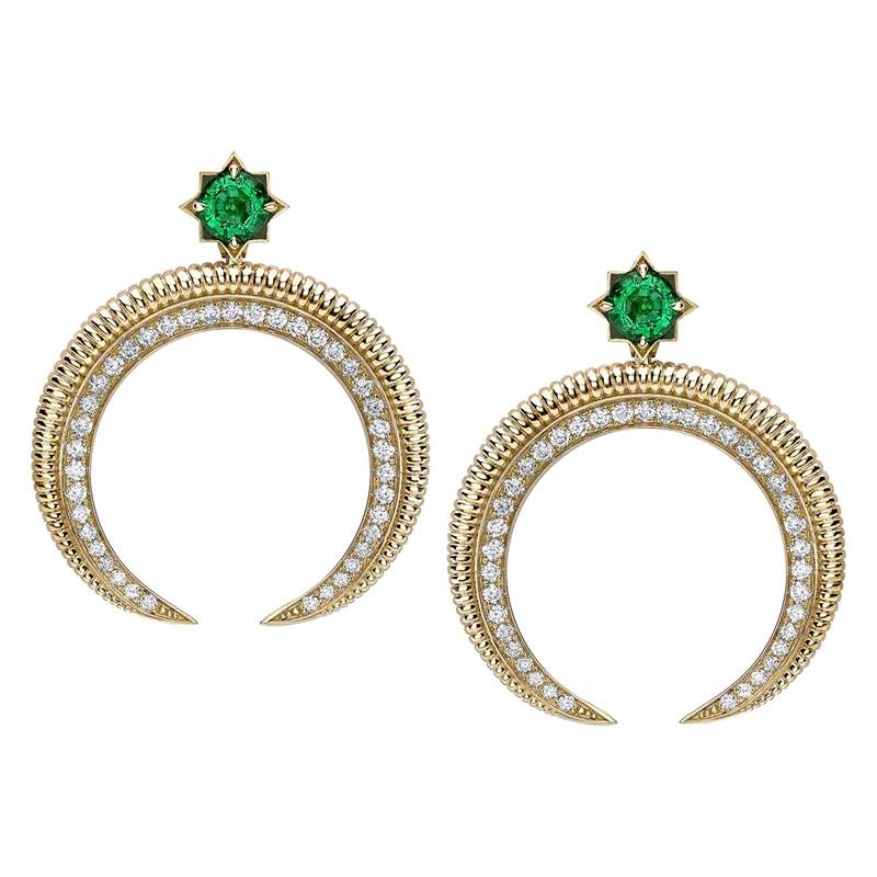 Hilal Yellow Gold Emerald & Diamond Earrings | Fabergé