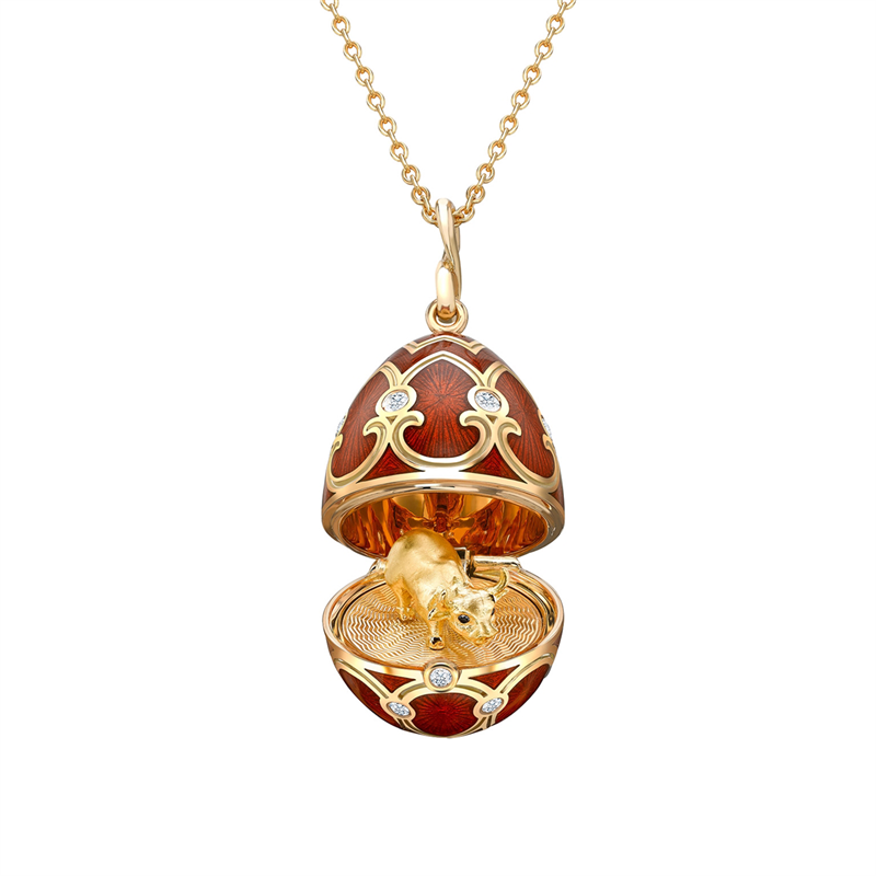 Yellow Gold Diamond & Red Guilloché Enamel Year Of The Ox Surprise Locket | Fabergé