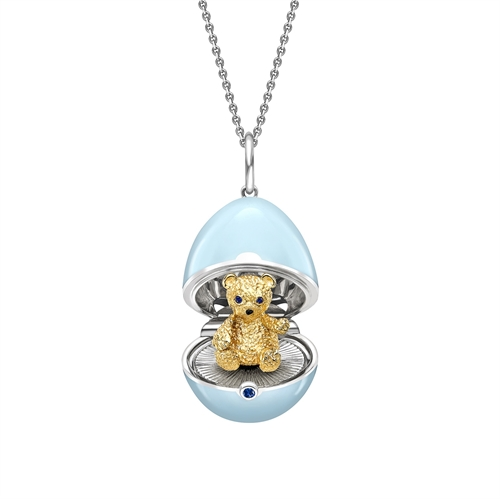 White Gold, Yellow Gold & Sapphire Teddy Surprise Locket with Blue Lacquer | Fabergé
