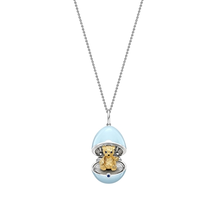 White Gold, Yellow Gold & Sapphire Teddy Surprise Locket with Blue Lacquer   Fabergé