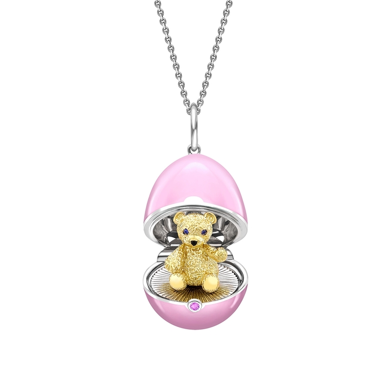 White Gold, Yellow Gold & Sapphire Teddy Surprise Locket with Pink Lacquer | Fabergé