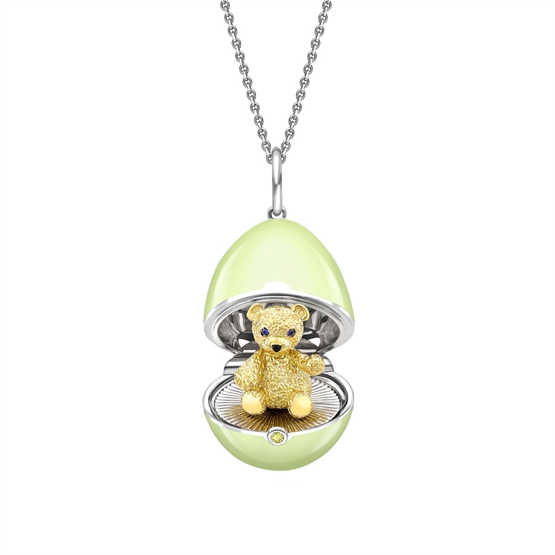 White Gold, Yellow Gold & Sapphire Teddy Surprise Locket with Green Lacquer | Fabergé