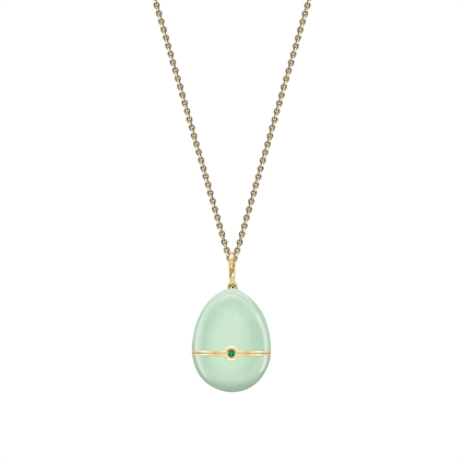 Yellow Gold, Yellow Sapphire & Emerald Anemone Surprise Locket With Green Lacquer    Fabergé