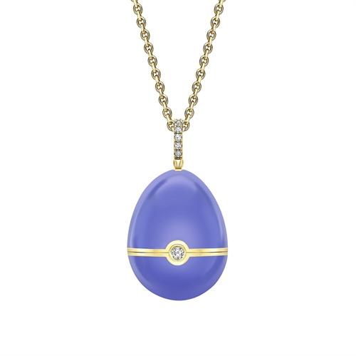 Yellow Gold, Diamond & Blue Sapphire Heart Surprise Locket with Blue Lacquer | Fabergé